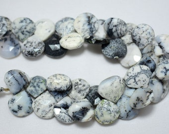 Half Strand Dendrite Opal Heart Shape Beads, Opal Faceted Heart Shape Gemstone For Jewelry, 13mm Approx, 4 Inch Strand
