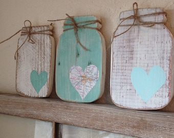 Custom mason jar wood sign with heart and established date