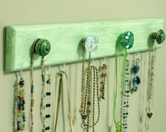 "Jewelry Rack ""Wood""  - Green ""Lime"" ""Weathered Look"" w/Decorative Knobs and Hooks"