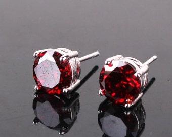 Beautiful 18 ct white gold filled garnet stud earrings