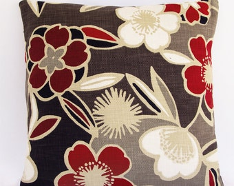 CLEARANCE SALE, Last Floral Pillow Cover , Red and Taupe Modern Pillow Cover, Floral Pillow Cover with Envelope Closure