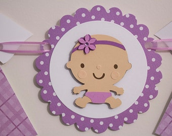 Baby Girl Shower Banner, Purple Baby Girl Shower Banner, New Baby Girl Banner, Welcome Home Baby Banner