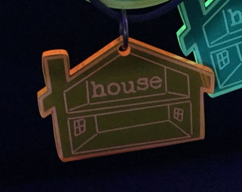 House Music necklace, blacklight reactive