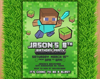 Inspired Mine Themed Birthday Invitation - Video Game themed Party - Mineventure Party Invite - Mine Theme Birthday Party Printable