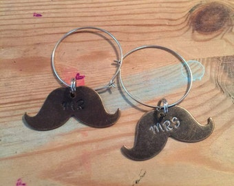 Mr. & Mrs. Mustache Wine Glass Charm Set Wedding Marriage Drinking Anniversary Presents Gifts Bride Groom