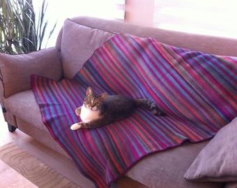 Knitted wool blanket, Handmade