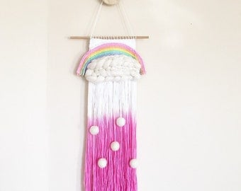 Large woven rainbow wall hanging