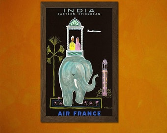 Air France India Print 1956 - Vintage Travel Poster Air France Poster India Travel Print Indian Poster  bp