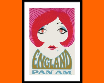 England Travel Poster 1970s Vintage Travel Poster England Poster Tourism  Decor Poster  Pan Am Poster  bp