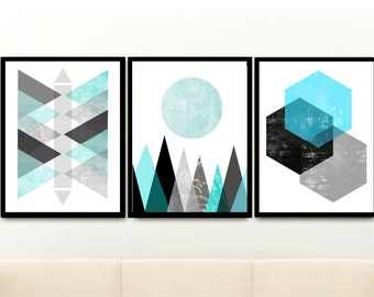 Blue Abstract Art, Geometric Prints, Set of 3 Prints, Triptych, Minimalist Poster, Scandinavian Art,Giclee prints, Wall Art, Wall Decor