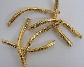 2x25mm S Shape Curve Gold Filled Diamond Cut Tube GF2412 Gold Filled Gold Filled jewelry tube gold beads beaded beads gold findings