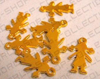 12mm ,Girl W/Ponytails Pendant, Alloy Gold Color,