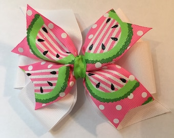 Pink and Green Watermelon Hair Bow Watermelon Bow Pink Stripe Watermelon Bow Pink Polka Dot Bow  Preppy Summer Bow White Pink Green Bow