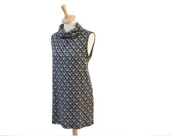 Sweater Turtleneck 38/40 black white dress, mini dress, knit dress for women
