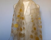 The Fontmell Organza Silk Stole in Ivory and Gold
