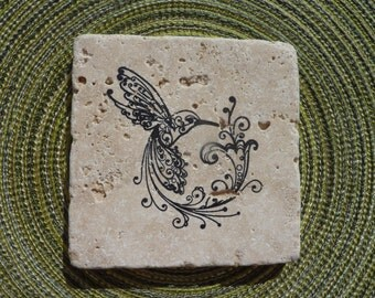 Hummingbird Stone Coasters ~ Set of 4
