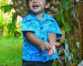 Baby Infant Boy Hawaiian Aloha short sleeve Shirt / Keiki sizes 6mo, 12mo, 18mo, 24 mo, 100% cotton with button sleeves