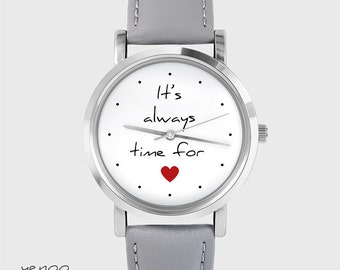 Bracelet Watch - It is always time for love - grey, leather