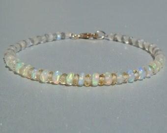 Opal Bracelet, Ethiopian Opal Bracelet, Citrine Bracelet, Labradorite, November Birthstone, Moonstone, Ombre, Dainty Beaded Bracelet