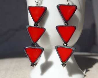 Red Triangle Earrings, Triangle Earrings, Modern Earrings, Whimsical Earrings, Holiday Earrings, 1021