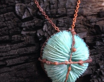 Coral mushroom necklace pendant.