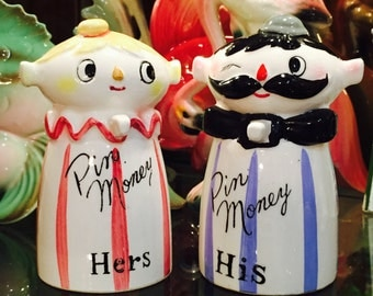 Anthropomorphic His and Hers Banks for Pin Money (Holt Howard copy) by Relco  made in Japan circa 1950's