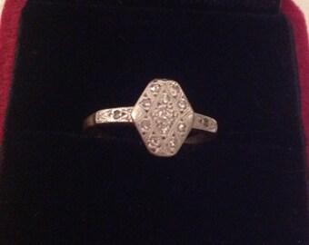Ring- Diamond 18 ct Platinum Marquee Shaped Ring