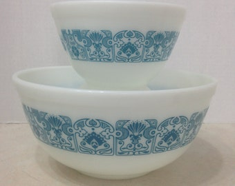 Horizon Blue Pyrex Nesting Bowls, Vintage Pyrex Horizon Blue Mixing Bowls