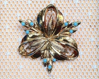 Vintage Bow Brooch with Turquoise Glass Bead Accents