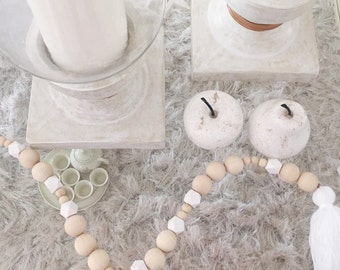 1 Tassel White and Natural Wooden Beads Mobile/Garland