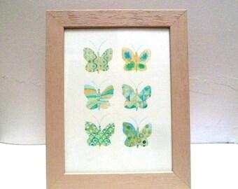 Original watercolor, Green and blue butterflies