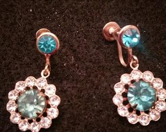 Vintage Blue Dangle Earrings
