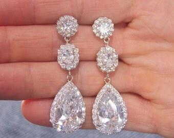 Vogue Earrings, Bridal Crystal Earrings, Wedding Earrings, Bridesmaid Earrings, Wedding Jewelry, Bridal Jewelry, Cubic Zirconia Earrings