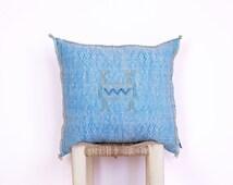 Blue Sabra Pillow - Handmade Moroccan 'Cactus Silk' Agave Cushion - Vegan Silk - Natural Tribal Gypsy Boho