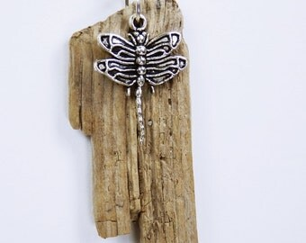 Dragonfly necklace made of driftwood on silver plated link chain - Dragonfly pendant - unique -.