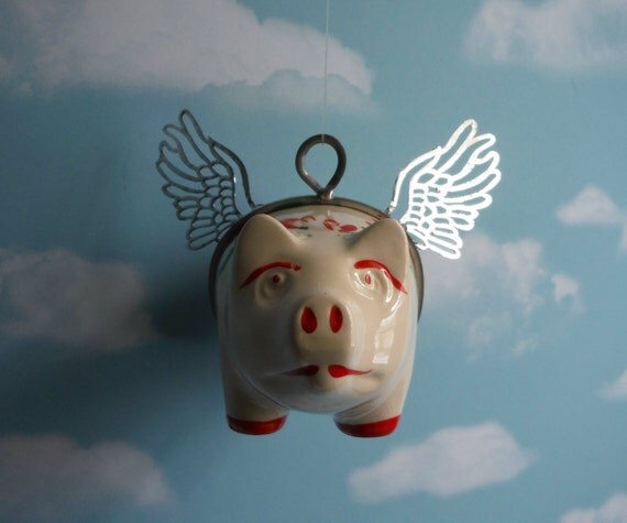 When Pigs Fly Flying Pig Vintage Piggy Bank