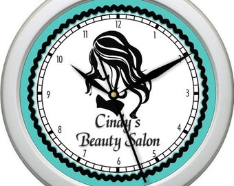 "Hair Salon 10"" Personalized Wall Clock Beauty Salon Hair Stylist Teal Black and Gray"