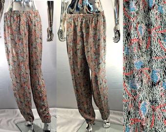 80s / 90s Harem Pants | Vintage Women's Size 13 MC Hammer Pants | Neon Bright Colors, Pleated, Squiggles | Retro Pants, 15 Waist blue, black