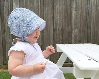 Avignon blue floral baby sun bonnet