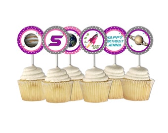 Planet Cupcake Toppers, Planet Party Circles, Space Birthday Printables, Girl Space Favor Tags ~ astronaut, rocket, out of this world