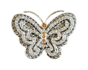Jewelled Butterfly Brooch, Rhodium Plated