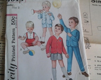 60s Boys Size 3 Toddler, Jacket and Pants, Simplicity Pattern 4913