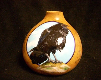 Hand Painted Gourd-Raven