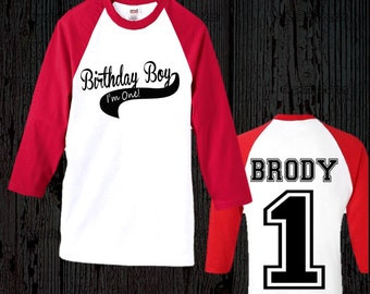 Boy's Birthday Baseball Shirt - Birthday Boy Raglan Shirt - First Birthday Shirt