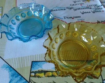 pressed glass candy dishes x 2