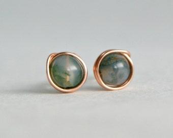 6mm Moss Agate & Copper Stud Earrings, Copper Earrings, Metaphysical Jewelry, Gemstone Earrings, Boho, Hippie, Newage, Delicate Earrings