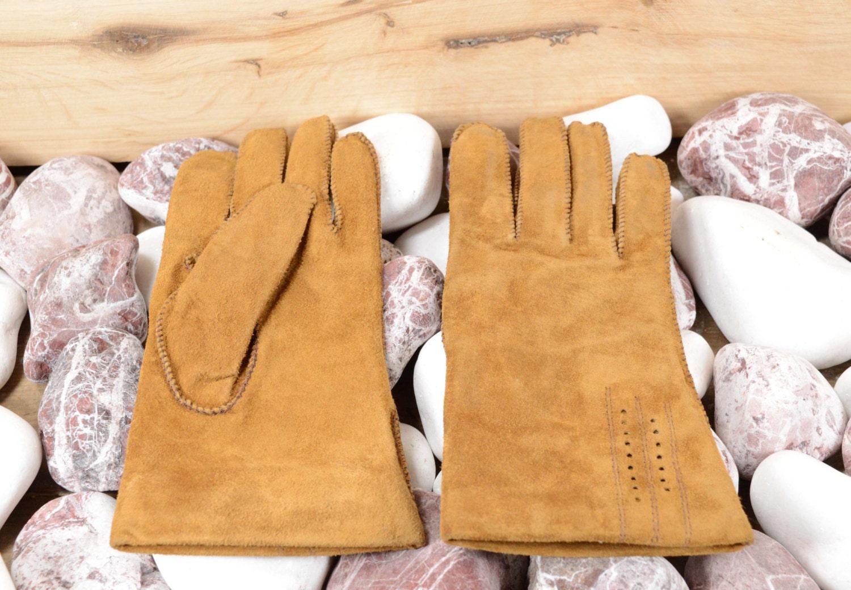 Vintage mens leather gloves - Vintage Leather Gloves Ladies Brown Suede 80s Men Gloves Dressy Gauntlet Length Brown Gloves Womens Gloves Suede Gloves