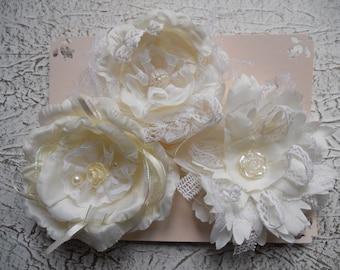 Fabric flowers-white