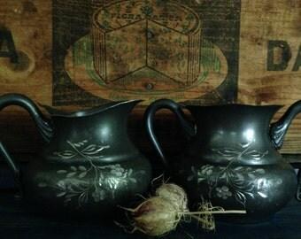 Quadruple silver plate creamer and sugar ~ late 1800's