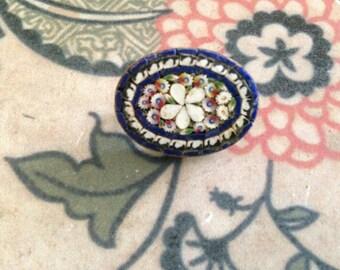 Vintage micro mosaic millefiori pin
